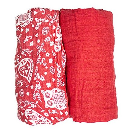 Red Muslin Swaddle Blankets