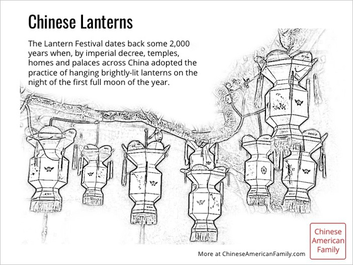 Chinese Lanterns Coloring Sheet